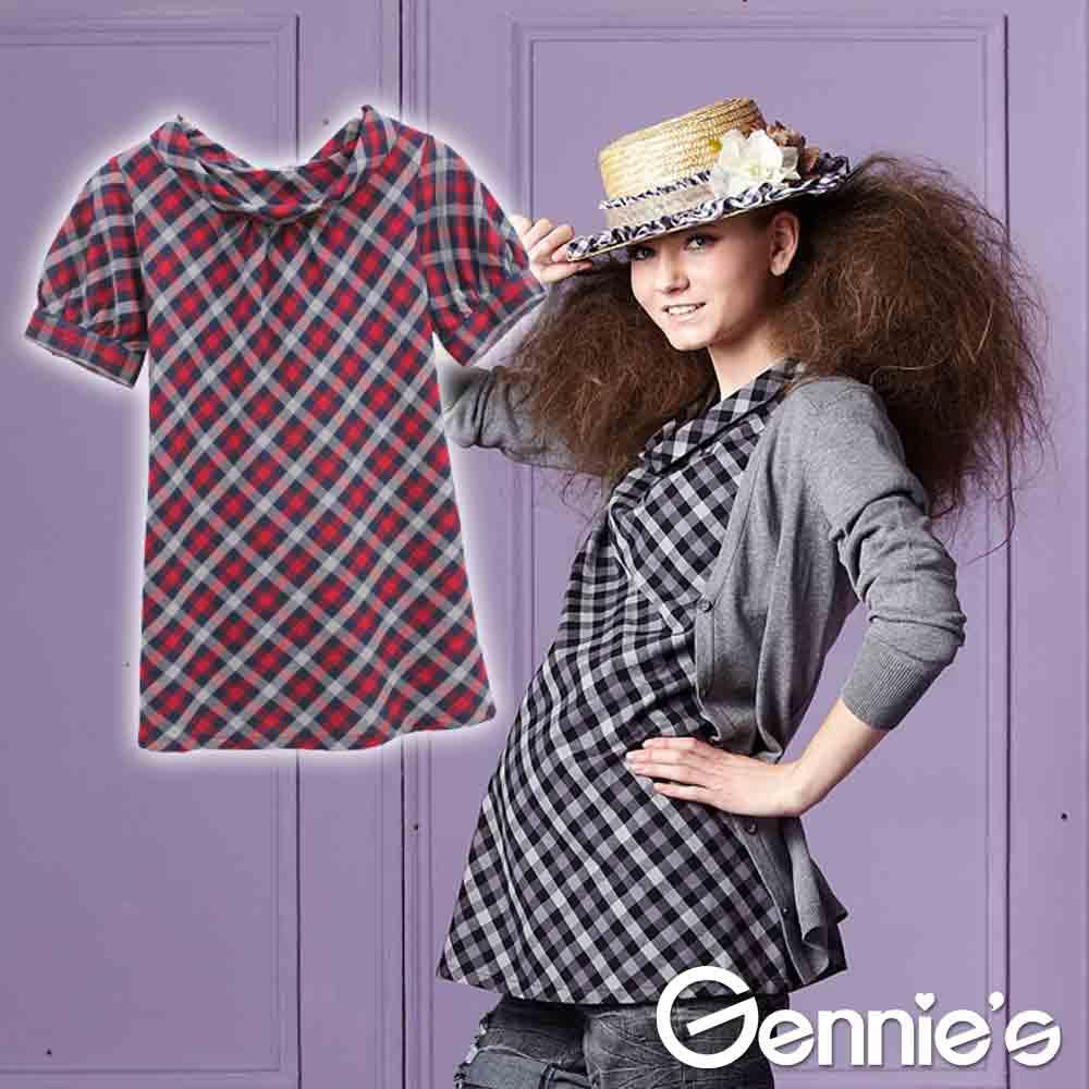 四季可穿【Gennie's奇妮】經典格紋圓褶領孕婦上衣-紅/黑(G3226)