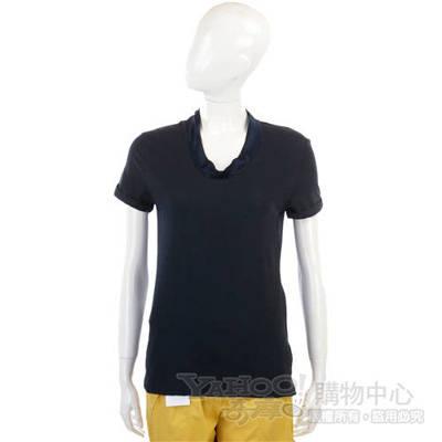 ALLUDE 深藍色拼接短袖上衣