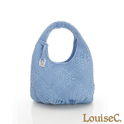 LouiseC. 羊皮手工編織水滴肩背包(小款)-水藍色-02L05-0022A09B