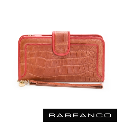 RABEANCO-經典牛皮鱷魚紋撞色長夾-橘