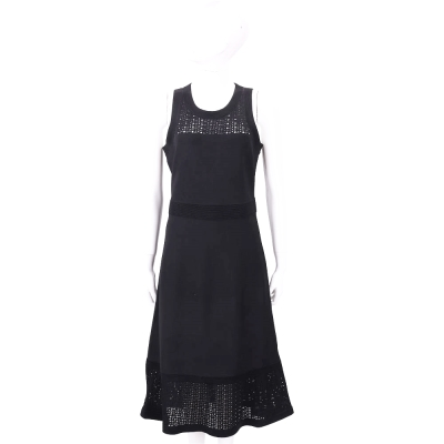 Michael Kors 黑色織紋拼接無袖洋裝