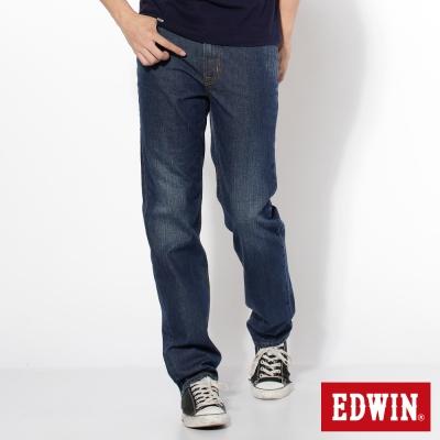 EDWIN 大尺碼 基本五袋高腰中直筒牛仔褲-男款(中古藍)