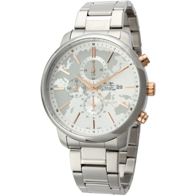 ALBA 經典三眼計時地圖腕錶(AM3081X1)-白/46mm