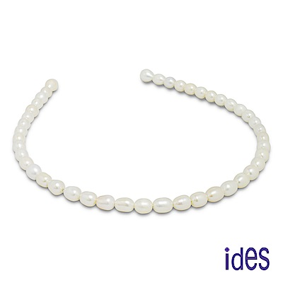 ides愛蒂思 天然淡水珍珠髮飾髮圈/白色水滴型7-8mm/珍珠公主(限量5組)