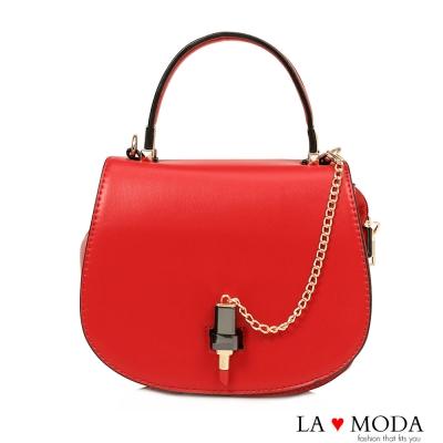 La Moda 吸引目光可愛口紅造型釦飾肩背包宴會包小包(紅)
