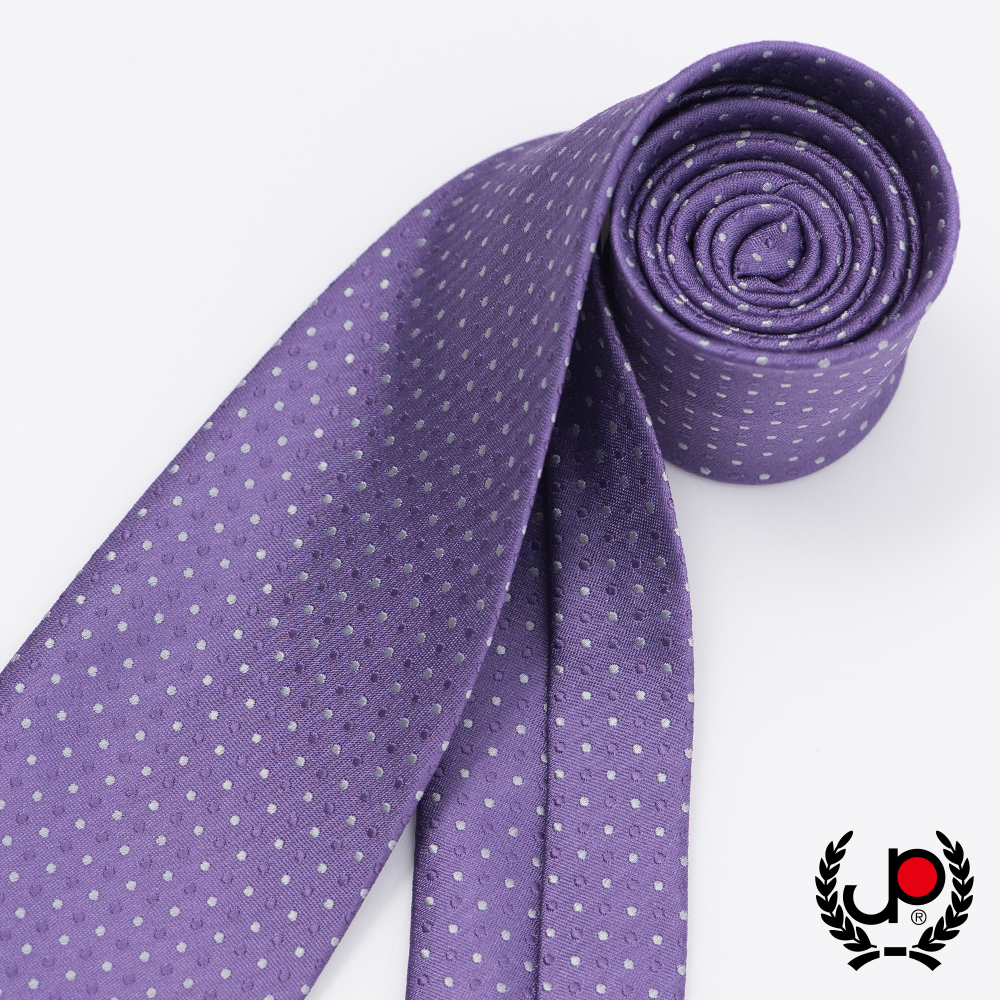 極品西服 經典Teflon防潑水100%絲提花領帶_紫灰點點(YT5031)