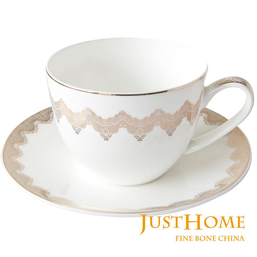 Just Home 帕維亞高級骨瓷2入咖啡杯盤組(附禮盒)