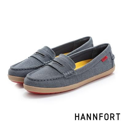 HANNFORT CALIFORNIA帆布氣墊樂福鞋-女-質感灰