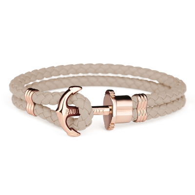 PAUL HEWITT德國出品 PHREP榛果褐皮革繩編織 玫瑰金色船錨 手環手鍊