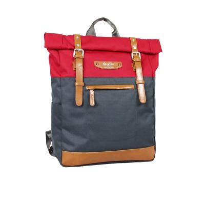 estilo - 時尚玩色系列 撞色設計 後背包 - 亮紅