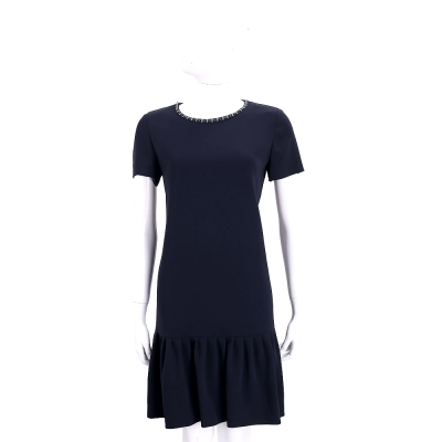 Max Mara 深藍色鑽飾領邊短袖洋裝