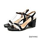 達芙妮DAPHNE 涼鞋-花邊撞色一字帶中跟涼鞋-黑