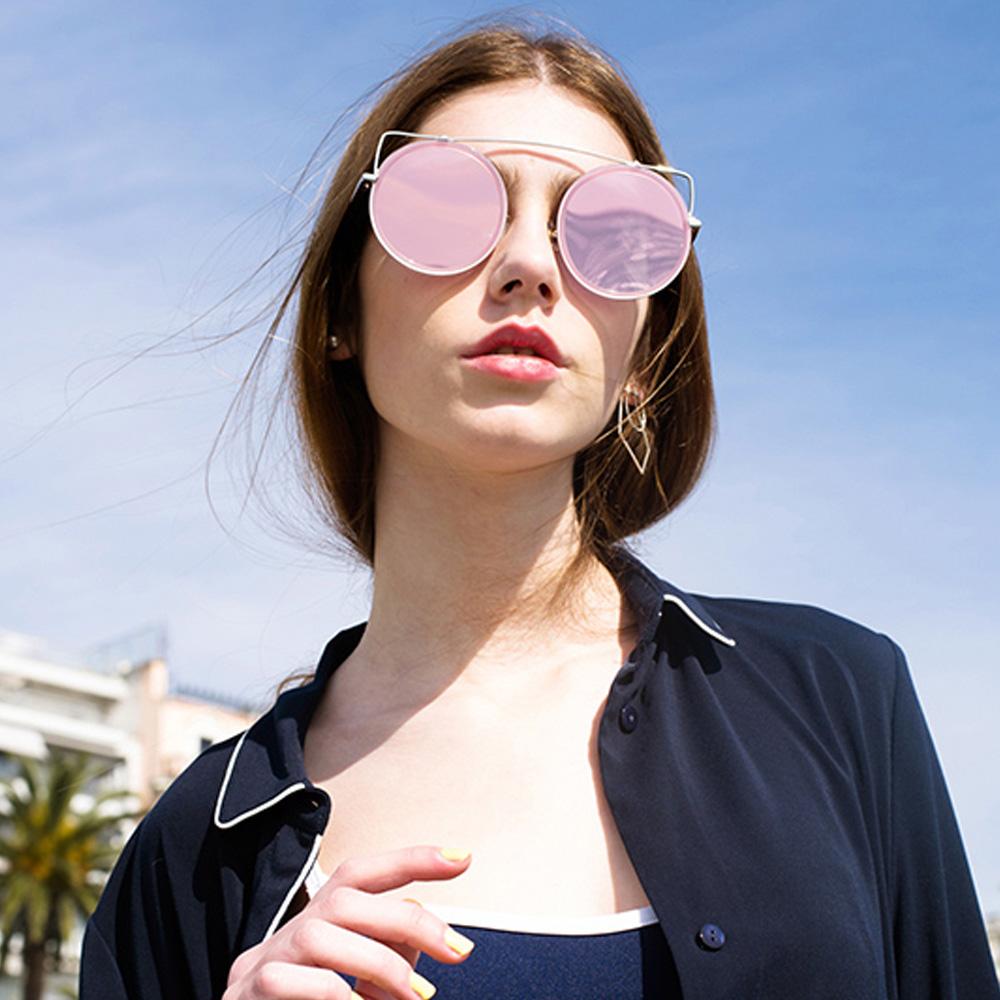 STEPHANE CHRISTIAN太陽眼鏡 前衛造型圓框款/粉銀#REO C07