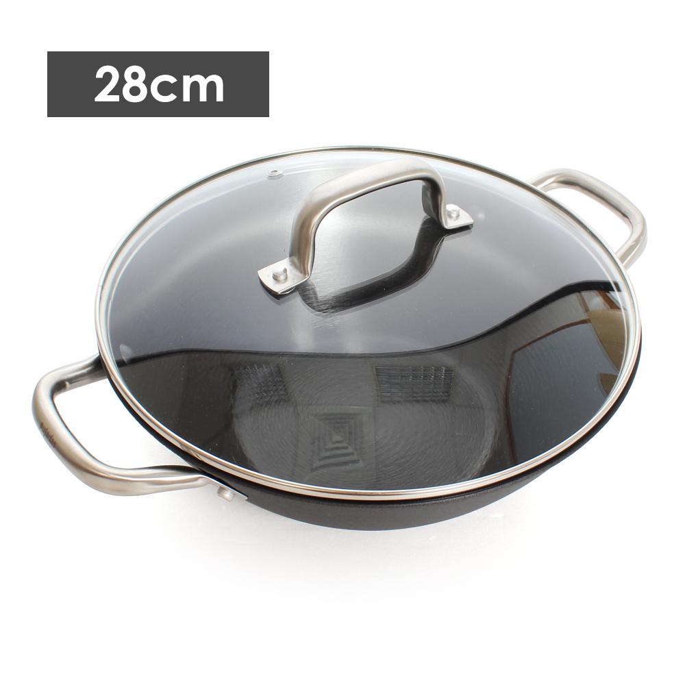西班牙Pujadas 1921輕鑄鐵深型雙耳燉鍋28cm(附蓋)