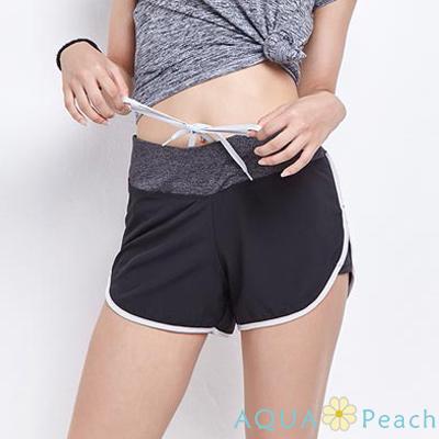 運動休閒短褲 排汗快乾防走光滾邊運動褲 (共二色)-AQUA Peach