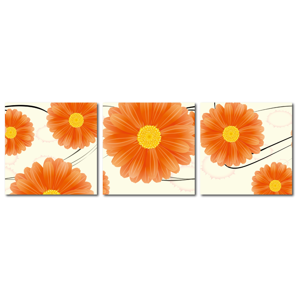 123點點貼- 三聯式無痕創意壁貼 - 橘菊 30*30cm