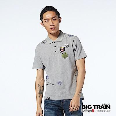 BIG TRAIN 軍事郵戳貼標POLO衫-男-麻灰