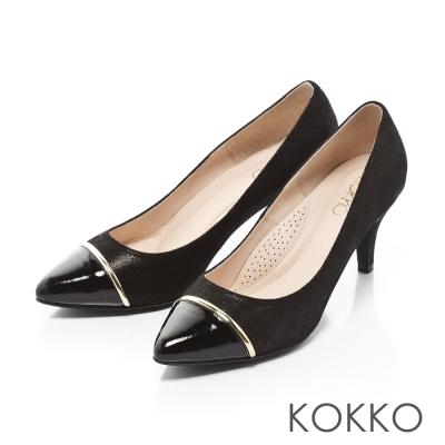 KOKKO-尖頭異材拼接金屬環高跟鞋-黑