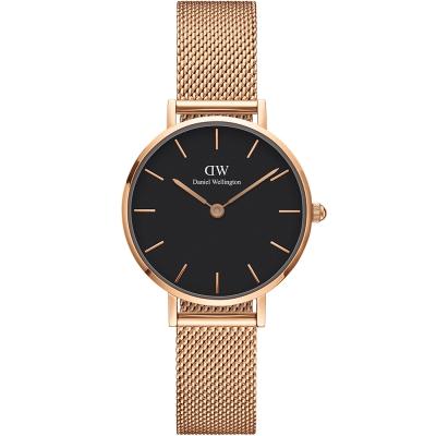 DW DanielWellington classic米蘭帶時尚手錶-黑X玫瑰金/28mm