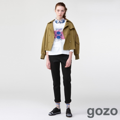 gozo攝影師跳色壓線窄管褲(二色)