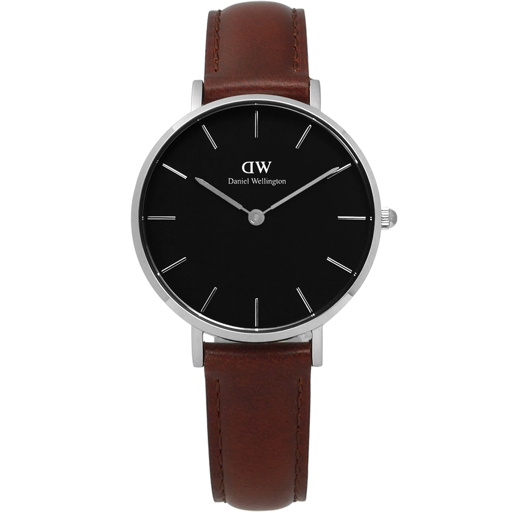 Daniel Wellington Classic經典真皮手錶-黑x咖啡/32mm