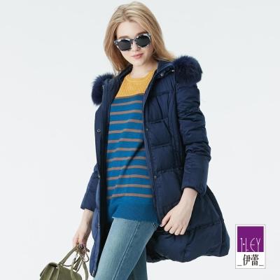 ILEY伊蕾 修身顯瘦長版羽絨外套(藍/紅)-動態show
