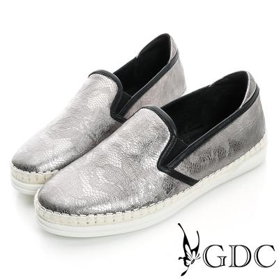 GDC舒適-奢華蛇紋麻邊真皮懶人休閒鞋-槍灰色