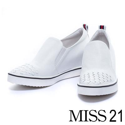 休閒鞋-MISS-21-織帶配色編織牛皮內增高休閒鞋-白