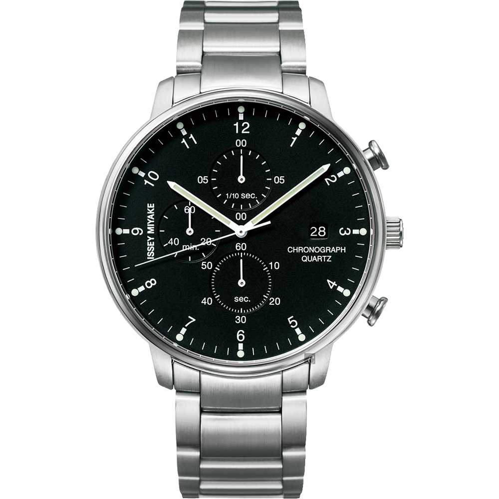 ISSEY MIYAKE 三宅一生 C 系列計時手錶(NYAD001Y)-黑x銀/42mm