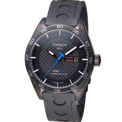 TISSOT PRS 516 碳纖維紋飾機械錶-黑/42mm