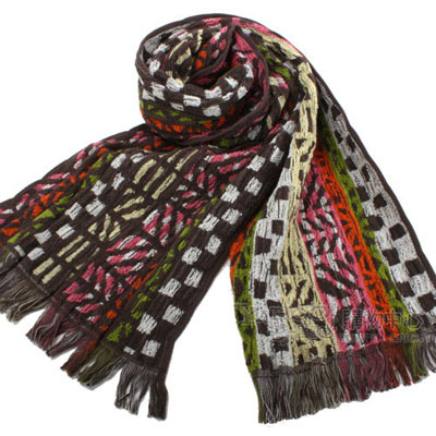 KENZO 民族風純棉圍巾-粉紅