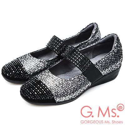 G.Ms. 燙鑽拼接金屬蛇紋羊皮瑪莉珍坡跟鞋-銀灰