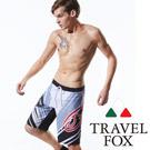 TRAVELFOX 旅狐 男泳褲 寬版 黑灰條紋