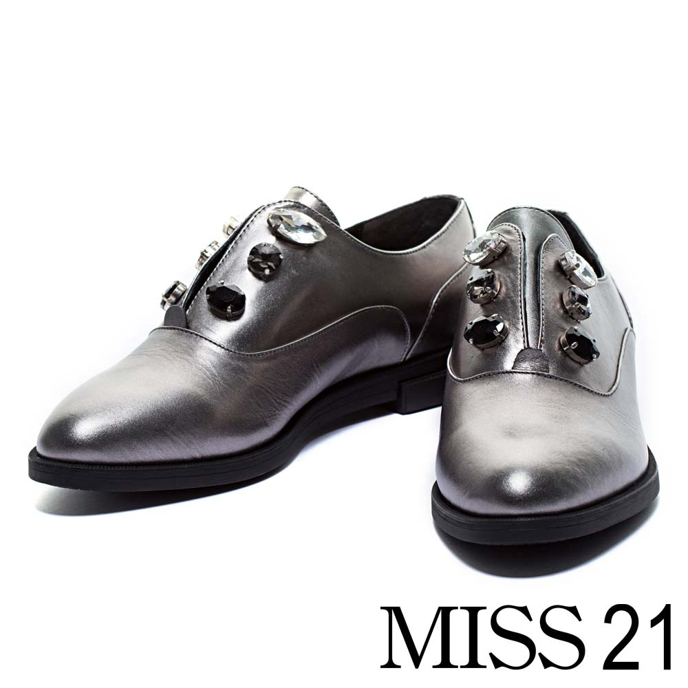 平底鞋MISS 21摩登簡約小牛皮平底尖頭紳士平底鞋-銀