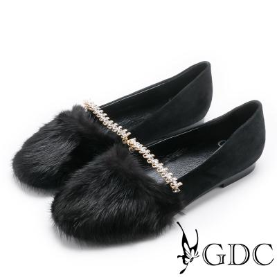 GDC-優雅氣質貂毛水鑽平底包鞋-黑色