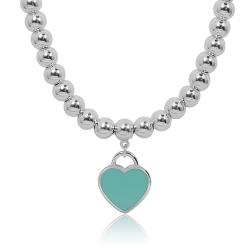 Tiffany&Co. Return to Tiffany經典藍色迷人愛心純銀圓珠項鍊