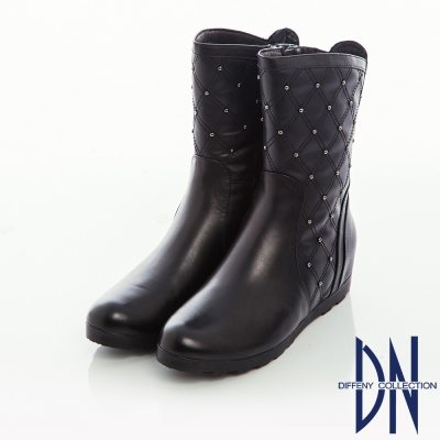 DN 街頭率性 牛皮菱紋縫線鉚釘內增高短靴-黑