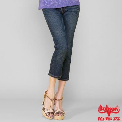 BOBSON 女款鑽飾牛仔七分褲(藍209-52)