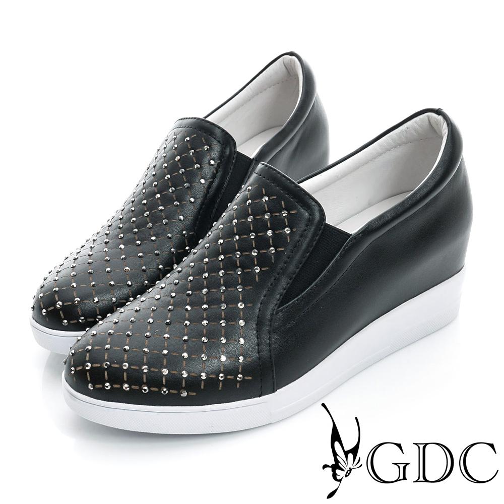 GDC舒適-韓風水鑽格紋真皮內增高休閒鞋-黑色