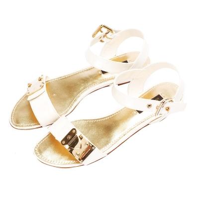 LV BR0113 漆皮繫帶露指平底涼鞋(珍珠白-36.5)