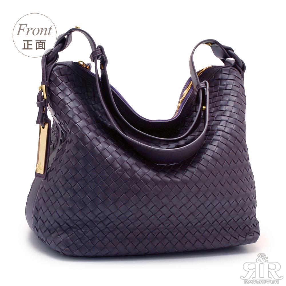 【2R】頂級訂製 NAPPA 羊皮手工梭織斜揹包(奢逸紫)
