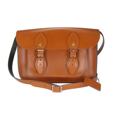 The Leather Satchel 英國手工牛皮劍橋包 肩背 側背包 倫敦棕 11吋