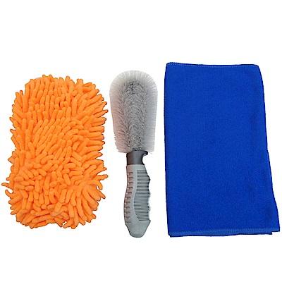 月陽超細纖維洗車巾擦車布海棉刷鋼圈刷超值組(CH70T)