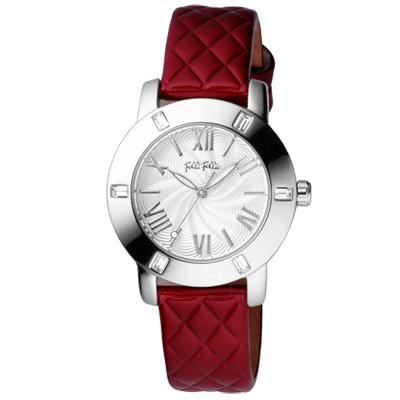 Folli Follie 時尚羅馬都會晶鑽腕錶-銀白x紅錶帶/34mm