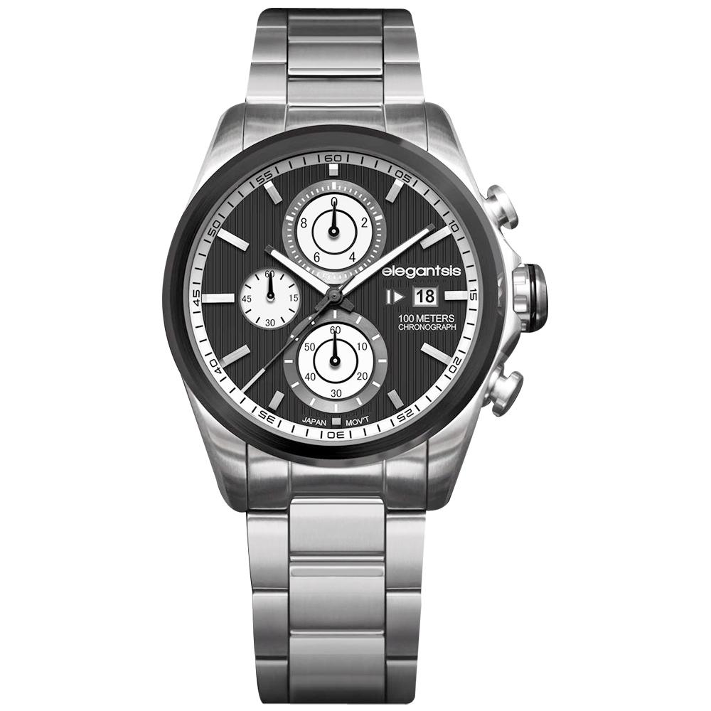 elegantsis 領先風範三眼計時腕錶-黑x銀/45mm