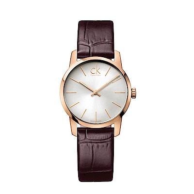 CK CALVIN KLEIN City 都會系列銀面鍍玫瑰金小錶面女錶-31mm