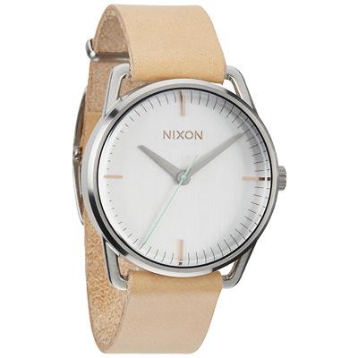 NIXON The MELLOR 純粹元素休閒都會腕錶-銀白x卡其/38mm