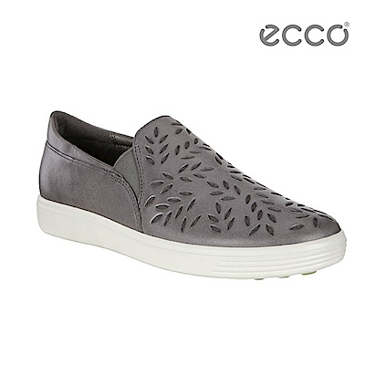 ECCO SOFT 7 LADIES 雕花輕便休閒鞋-灰