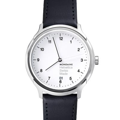 MONDAINE 瑞士國鐵Helvetica 聯名腕錶-白/40mm