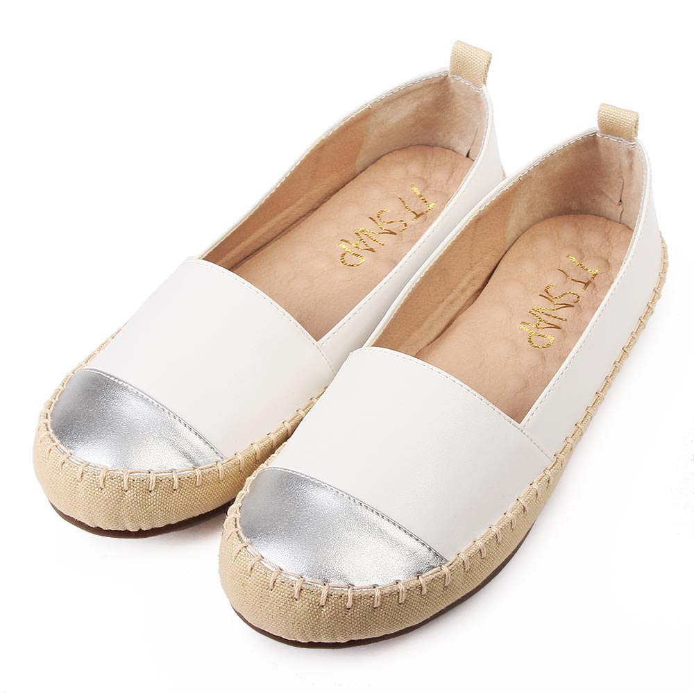 TTSNAP平底鞋-MIT異材質拼接真皮休閒樂福鞋 白